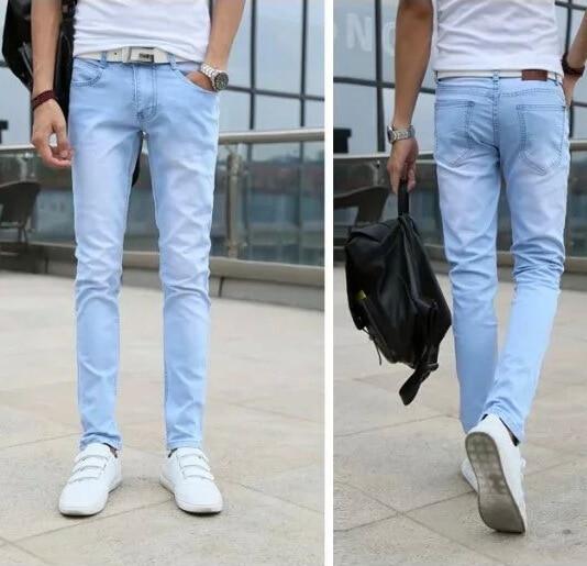 Spring New Style Slim Fit MEN'S Jeans Sky Blue Korean-style MEN'S Trousers Men'S Wear Supply Of Goods