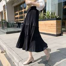 Spring Summer Women Pleated Skirt Vintage Casual Chiffon High Waist Long