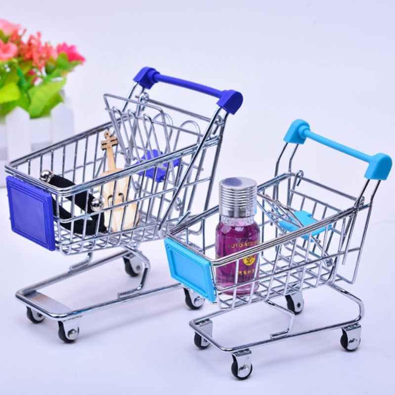 Mini supermercado mão carrinho de compras carrinho de utilidade cesta de armazenamento fingir crianças brinquedo 10 cores
