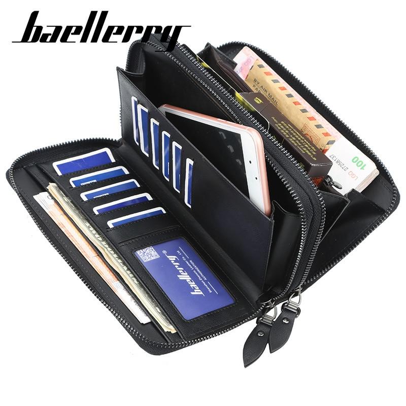 Business Brand Baellerry Long Wallet Men Double Zipper PU Leather Wallets Purse For Men Clutch Male Card Holder Phone Bag
