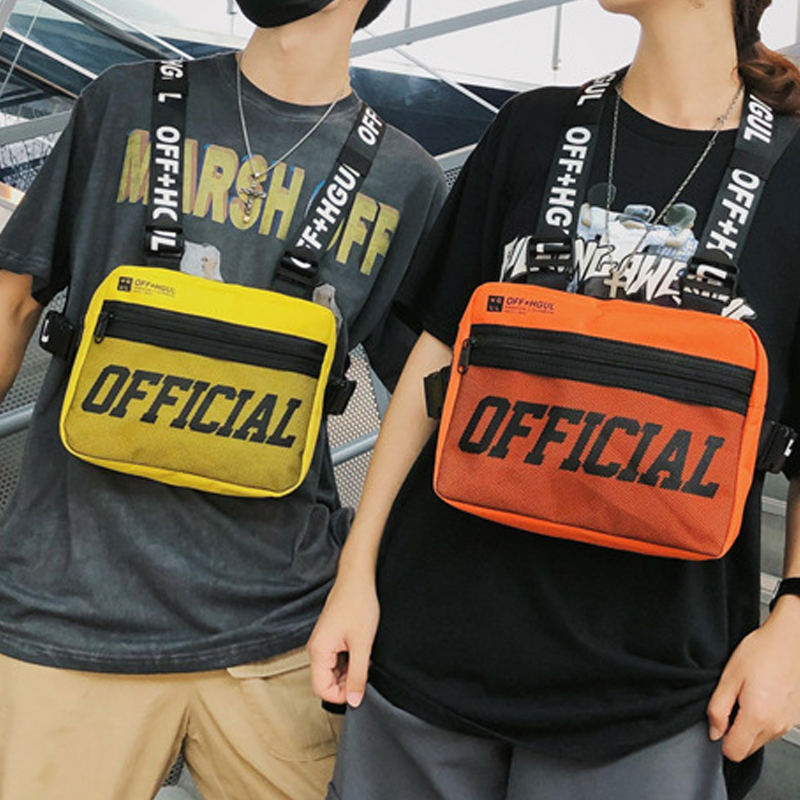 Male Letter Shoulder Square Waist Streetwear Bags Women Canvas Tactical Bag Men Bullet Street Hip Hop Chest Vest Pack G122