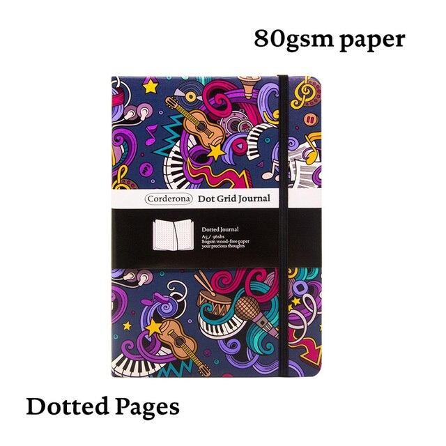 Muziek A5 Gestippelde Notebook Dot Grid Journal Hard Cover 80gsm Travel Planner Dagboek
