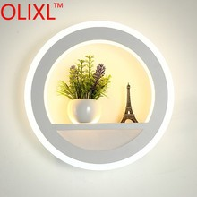 OLIXL 29W Acrylic Modern Led Wall Light For Living Room Bedroom Corridor Luminaire Round Wall Lamp With Flower And Tower