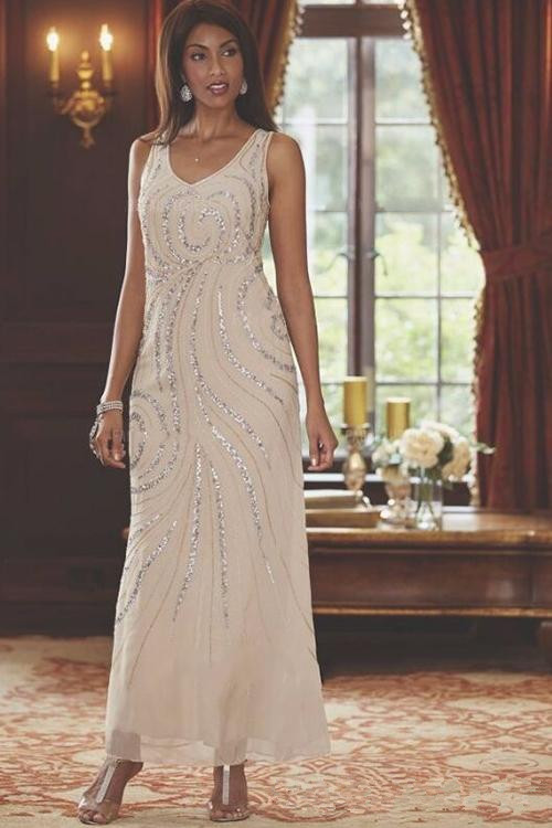 2020 Ankle Length Chiffon Mother Of The Bride Groom Dress With Long Sleeve Jacket A-Line V-neck Beading Elegant Champagne Real