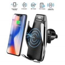 Автоматическое зажимное быстрое зарядное устройство для телефона, автомобильное крепление для iPhone XR huawei samsung Smart Phone 10 Вт, беспроводное автомобильное зарядное устройство