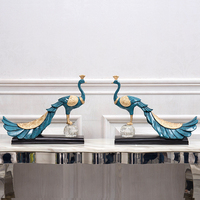 European Resin Peacock Ornaments TV Cabinet Hotel Figurines Decoration Office Accessories Crafts Home Livingroom Furnishing Art