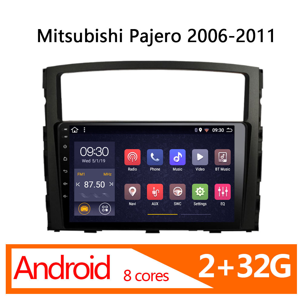 car radio player for Mitsubishi Pajero android 2+32G 8 core 2006 2007 2008 2009 2010 <font><b>2011</b></font> GPS Navi <font><b>multimedia</b></font> for auto autoradio image