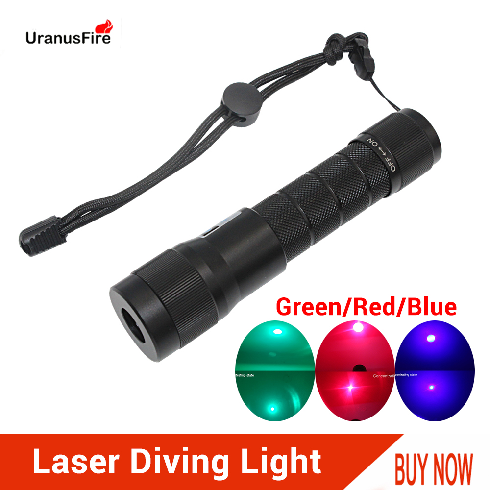 Laser Diving Flashlight Red Blue Green LED Laser Underwater Light Torch Waterproof 100m Powerful Tactical Scuba Dive Light Lamp