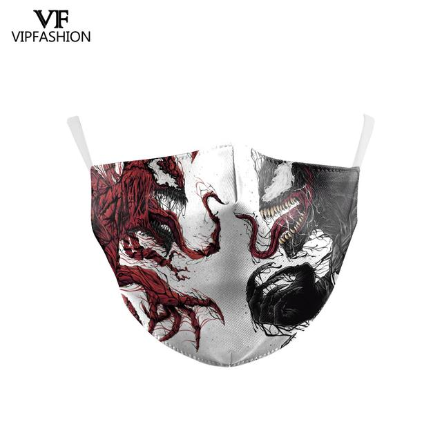 VIP FASHION Children's Mouth Mask Halloween Horror Skull Printed Anti Dust PM2.5 Double Layer Mouth-muffle Reusable Washable 4