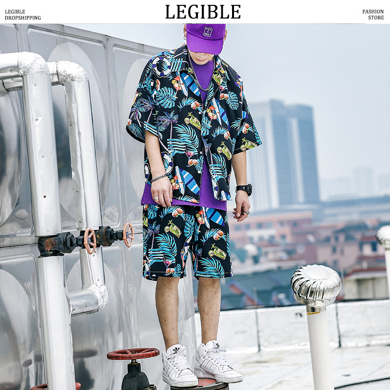 LEGIBLE Men's Short Sleeve Shirts Shorts Summer Boho Style Man Beach Suits Harejuku Streetwear Male Clothes