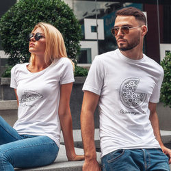 Couple T-shirt Summer Couple Where Are You Printed Clothes Couple Tshirt  Casual Pizza Short Sleeve Tees Loose Couple Top