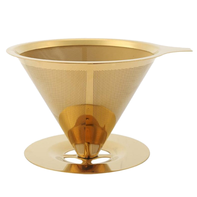 Hot Sale Double Wall Stainless Steel Titanium Gold Pour over Coffee Dripper Filter with Cup Stand and Handle|Coffee Filters| |  - title=