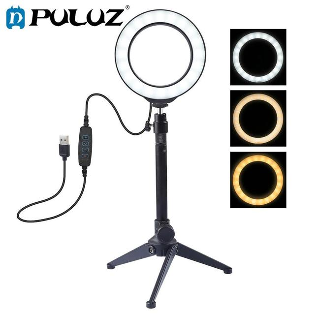 LED anneau lumière 12/16 cm 3 Modes de couleur anneau lampe à Led avec trépied pour YouTube maquillage Selfie Photo Studio photographie ringlight