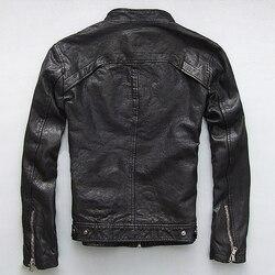 Мужская кожаная куртка из натуральной овечьей козьей кожи, брендовая Черная мужская куртка-бомбер, мотоциклетная Байкерская Мужская куртк...