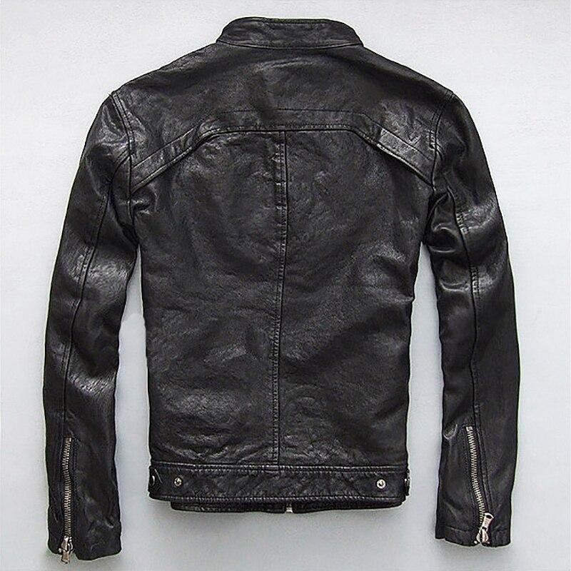 Jaqueta de couro genuíno masculina, pele de cabra de ovelha real, preta, para motociclista, casaco masculino de primavera, outono zlg88