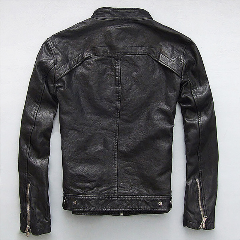 Men Leather Jacket Genuine Real Sheep Goat Skin Brand Black Male Bomber Motorcycle Biker Man's Coat Autumn Spring Clothes Zlg88