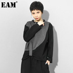 [EAM] Women Gray Contrast Color Irregular Big Sie T-shirt New Round Neck Long Sleeve Fashion Tide Spring Autumn 2021 1Z297