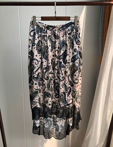 Image 1 - Women Skirt Vintage Print Stitching Asymmertrical Lace Elastic Waist Midi Skirt
