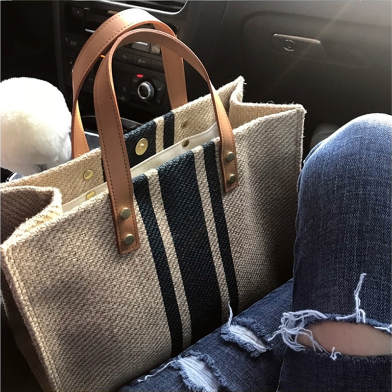 Korean Women Handbag Canvas Shoulder Bag Tote Casual Briefcase Large Capacity Ladies Hand Bags Weekend Beach Bag Sac Main Femme