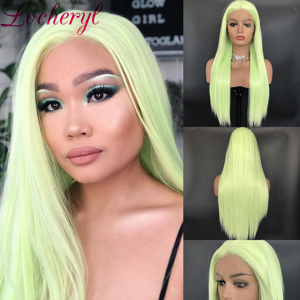 Lvcheryl Natural Long Silky Straight Apple Green Glueless Heat Resistant Synthetic Lace Front Wigs For Women Party Makeup