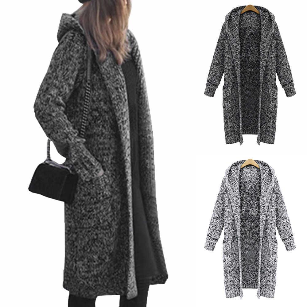 Осенний кардиган, вязаный свитер для женщин, повседневное длинное женское  пальто с капюшоном, зимние плотные Длинные свободные однотонные, стиль  Харадзюку, уличная одежда, пальто| | - Алиэкспресс