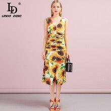 LD לינדה דלה קיץ מסלול אופנה בת ים המפלגה שמלה אלגנטית נשים של V צוואר חמניות הדפסת עטוף Ruched מקרית Midi שמלה
