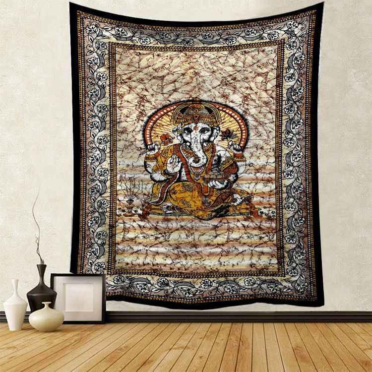 Gobelin ścienny wiszący czaszka płaszcz 3D Halloween czarny Tarot gobelin Mandala księżyc słońce Ouija Hippie Boho Home wykładzina ścienna