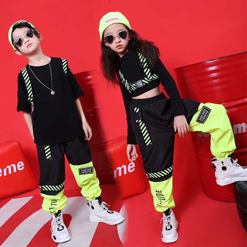 Children'S Hip Hop Street Dance Costumes New Boys And Girls Set Autumn Hiphop Jazz Dance Kids Show Performance Clothing VDB965
