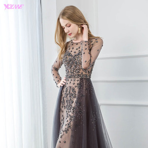 Image 5 - YQLNNE Elegant Gray Long Sleeve Evening Dress O Neck Beaded Tulle Formal Women Evening Gowns