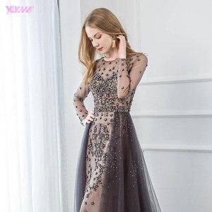 Image 5 - YQLNNE élégant gris à manches longues robe de soirée O cou perlé Tulle formel femmes robes de soirée