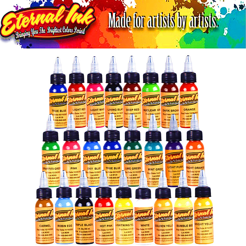 16 Colors 30ml / Bottle Tattoo Ink Black Permanent Body Art Paint Micro Pigment Brown Eyebrow Eyeliner Lip Tattoo Art Beauty Too