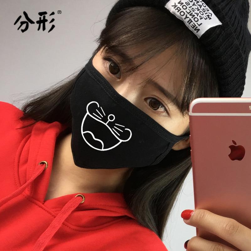 Doraemon Dust Mask Cartoon Women Masks Cotton Creative Funny Cute Korean Men Comfortable Wild Lovers Fashion Winter Black Girls