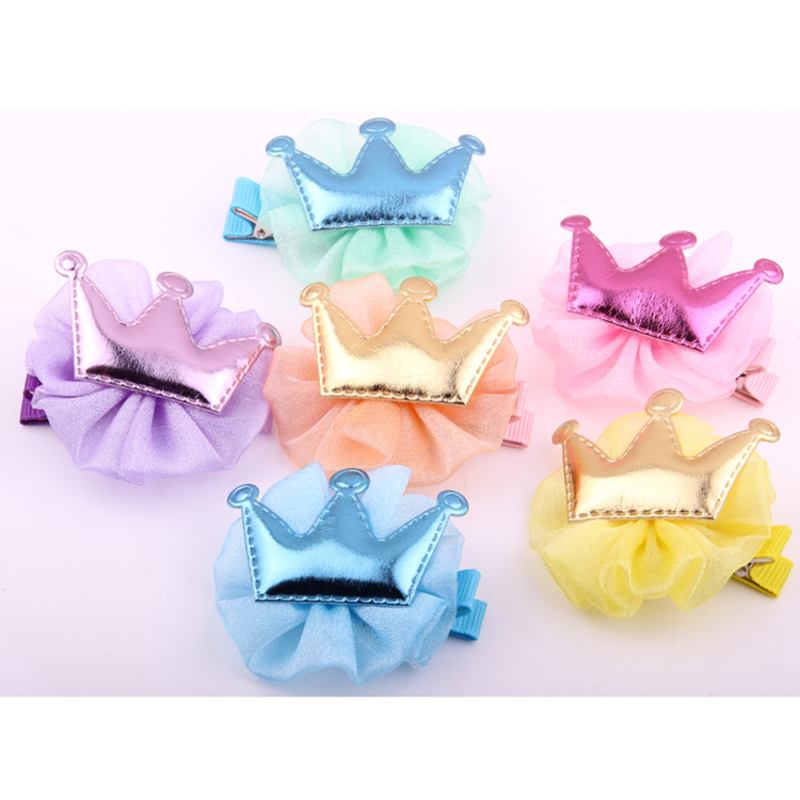 New Arrivals Hairdress For Children Colors Chiffon Flower PU Crown Barrette Princess Hair Clips Ornaments Hand Making Hairpin