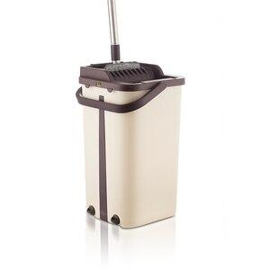 Image 1 - Espremer plana Wringing Mop Limpeza do Chão Esfregão e Balde Mão Livre Almofadas de Microfibra Mop Molhado ou Seco Uso em Madeira laminado Telha