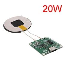 20W מתח גבוה 5V 13.5V מהיר טעינת מטען אלחוטי משדר מודול סוג c USB + סליל qi אוניברסלי עבור טלפון סוללה