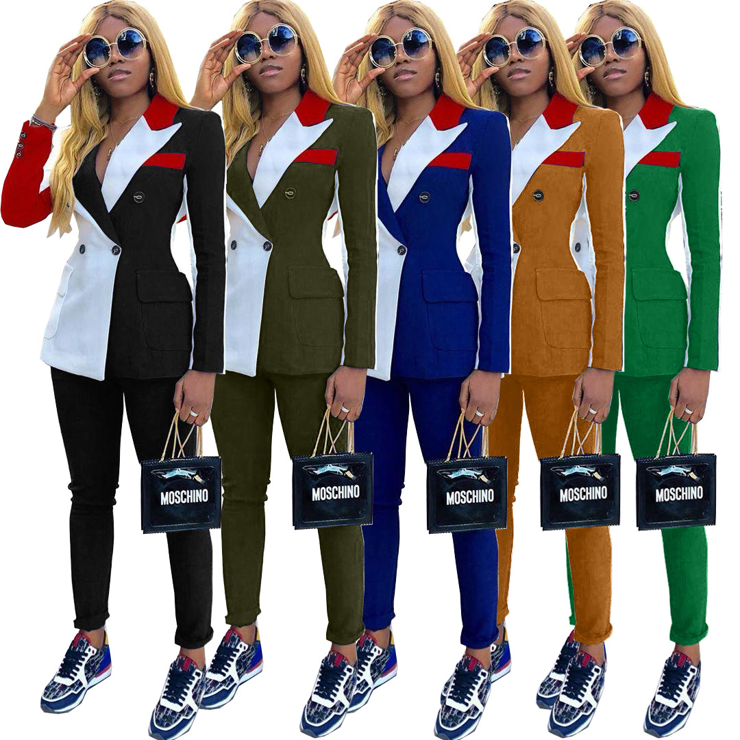 Autumn Winter Tracksuit Notched Full Sleeve Blazers Pants Suit Two Piece Casual Fashion Outfit Patchwork Color Uniform D5090