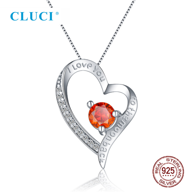 CLUCI 925 Sterling Silver Pendant Necklace Red Zircon Heart Shaped Female Silver 925 Necklace For Women Valentine Day Gift