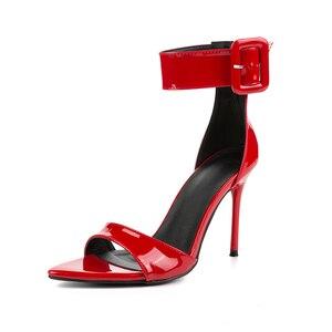 Image 2 - Pzilae sandales en cuir verni rouge, sandales à talons hauts, bout ouvert, boucle à la cheville sangle, chaussures de fête pour femmes, sexy, collection 2020