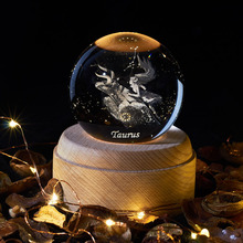 Free Shiping 2020 New 3D 12 Constellation Crystal Ball Lamp Laser Engraved Taurus Night Light Planetarium Kid Christmas Gift