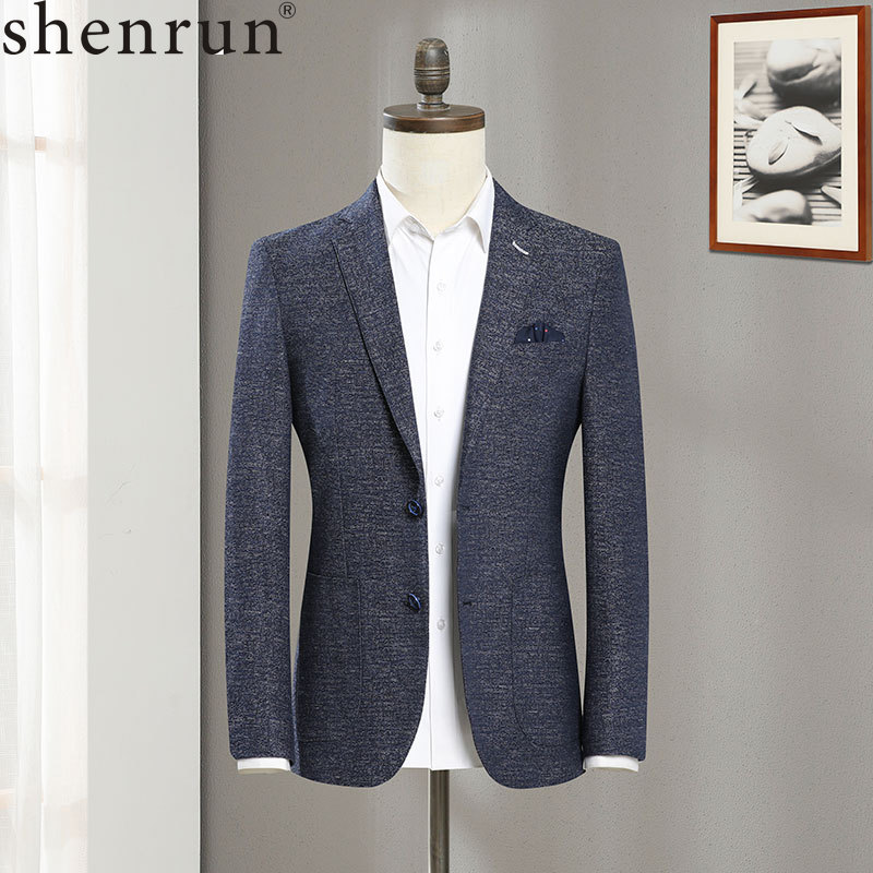 Shenrun New Men Blue Linen Spring Autumn Jacket Fashion Casual Blazer Business Party Prom Slim Fit Male Suit Jackets Size S-6XL