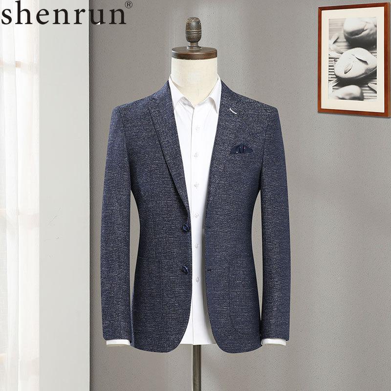 Shenrun New Men Blue Linen Spring Autumn Jacket Fashion Casual Blazer Business Party Prom Slim Fit Male Suit Jackets Size S-6XL
