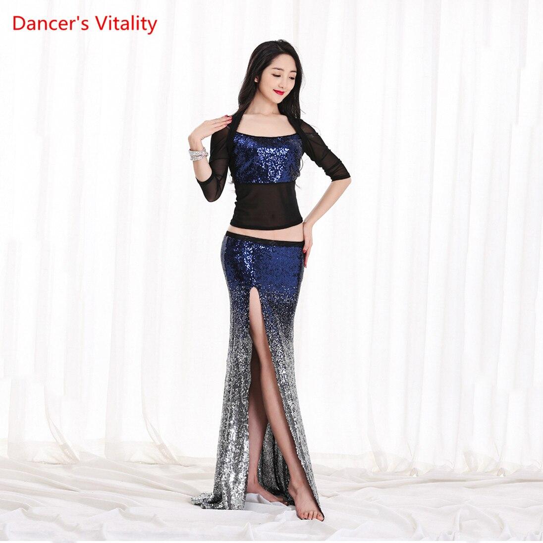 Mulheres Novo Conjunto de Dança Do Ventre Dança Oriental Competição de Dança Traje de Lantejoulas Top + Fishtail Saia 2pcs gypsy traje saia conjunto