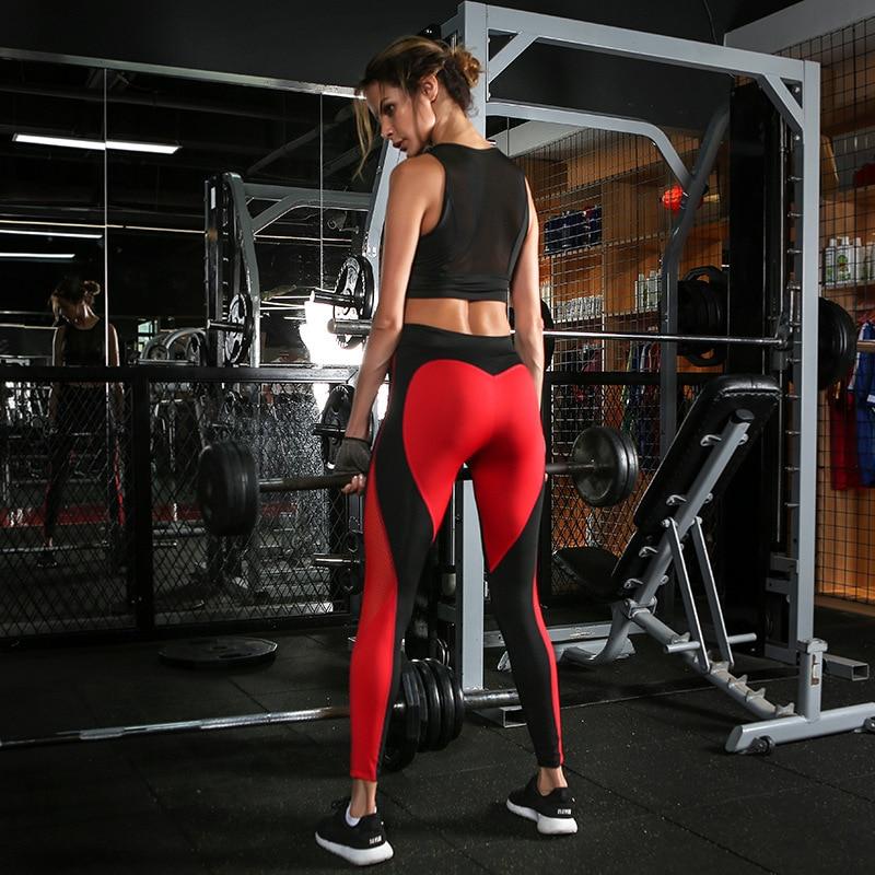 Ladies Leggings Heart-shaped Patchwork Fitness Leggings Quick-drying Buttocks Slim High Waist Pants Elastic Sports Fitness Pants