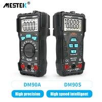 MESTEK-multímetro Digital DM90A NCV, medidor de voltaje de CA/CC, rango automático de 6000 recuentos, luz trasera de Flash, pantalla grande de 90A/S/E