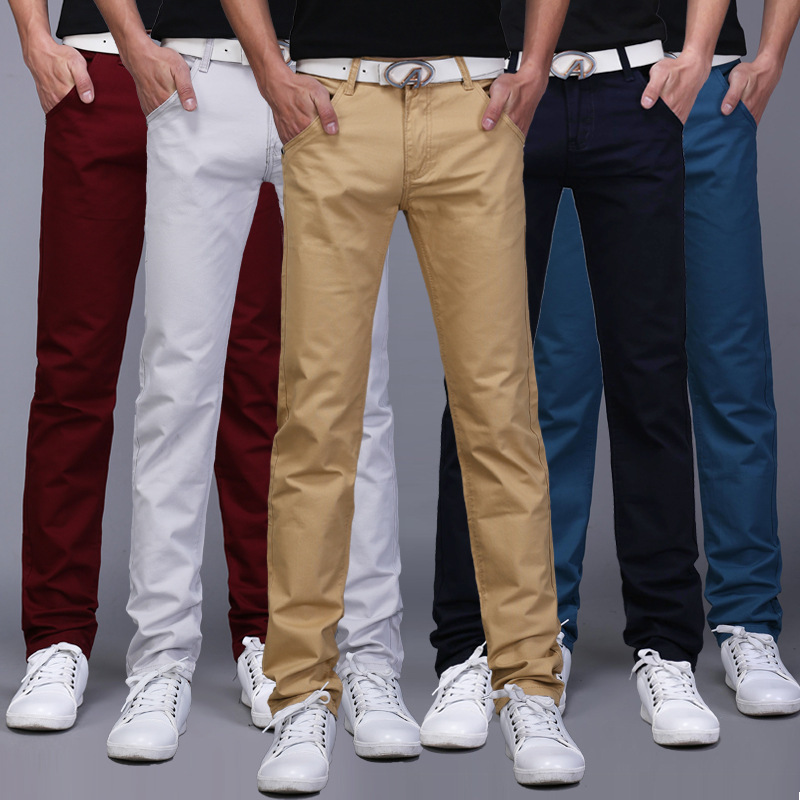 Spring And Summer MEN'S Casual Pants Men's Straight-Leg Trousers Youth Large Size Men'S Wear Korean-style Slim Fit Solid Color T