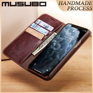 Image 2 - Estuches de cuero de lujo Musubo para iphone 11 XS Max cartera teléfono bolsa soporte Funda abatible para iphone XR 8 funda protectora Plus 7 6