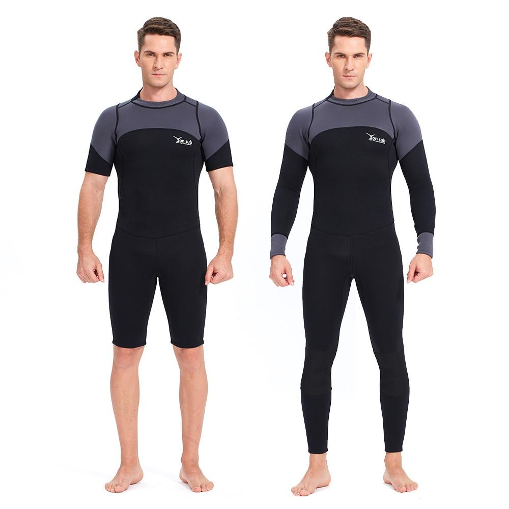 YONSUB néoprène 3mm combinaison de plongée manches longues et courtes combinaison de plongée hommes près du corps pêche sous-marine plongée surf plongée en apnée maillot de bain - 2