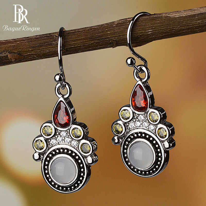 Bague Ringen Vintage Temperament Gemstone Earrings for Women Moonstone Water Drop Shaped Ruby Silver 925 Jewelry Anniversary