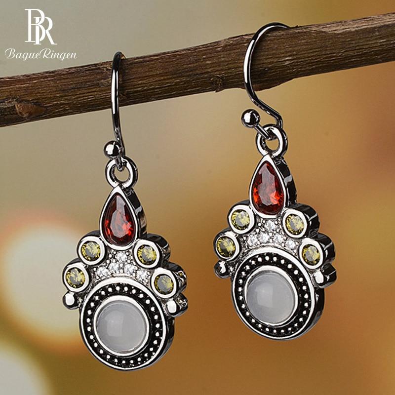 Bague Ringen Vintage Temperament Gemstone Earrings For Women Moonstone Water Drop Shaped Ruby Silver 925 Jewelry Anniversary