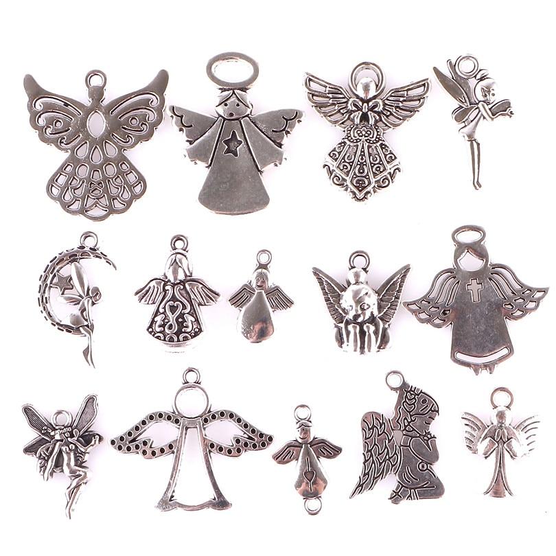 14 pçs misturado tibetano banhado a prata menina anjo fada cupido encantos pingentes jóias fazendo pulseira acessórios diy artesanato artesanal